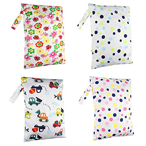 4 Pack nat droog tas baby waterdichte natte tas herbruikbare doek luier opslag opknoping zakken baby luier zak met rits zakken voor reizen, strand, Gym tas