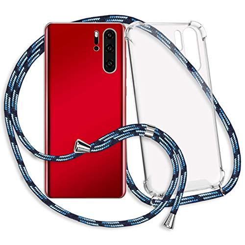 mtb more energy® Mobiele telefoon ketting voor OnePlus 7 (6.41'') - blauw gestreept - Smartphone hoesje met koord - Nek Tas Cover met snoer band