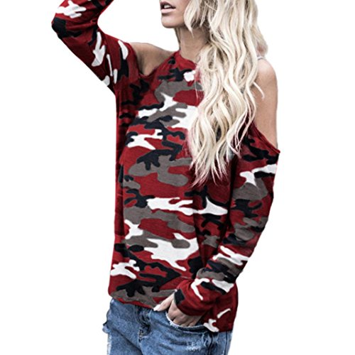 Women Sexy Off Shoulder Camouflage Long Sleeve O Neck Blouse Tops T-Shirt