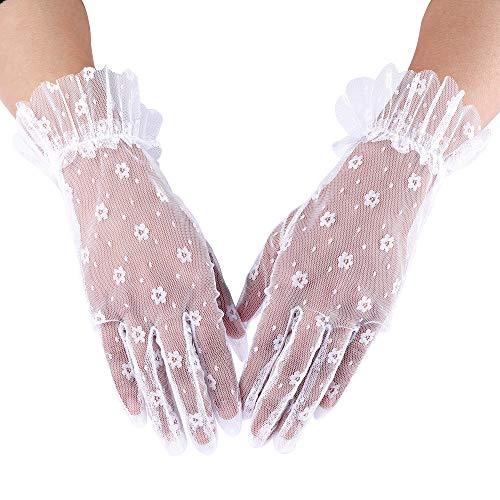 CHIC DIARY Handschuh Spitze Damen Brauthandschuh Weiß Netzhandschuhe Kurz Spitzenhandschuhe Hochzeit Abendkleid Party
