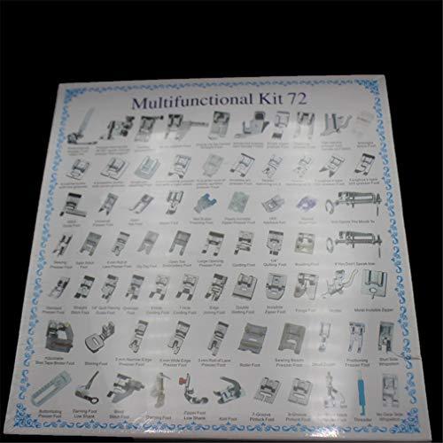 YPSM Domésticas Máquina De Coser Kit Prensatelas,Universal Profesional Multi-función Prensatelas,Zigzag Caña Baja Snap On Foot 72pcs 31x32.7x2.6cm (12x13x1inch)