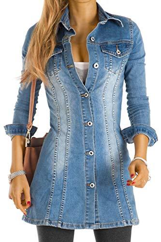 Bestyledberlin Ja56p XS - Camicia lunga da donna, in denim, a maniche lunghe, sciancrata