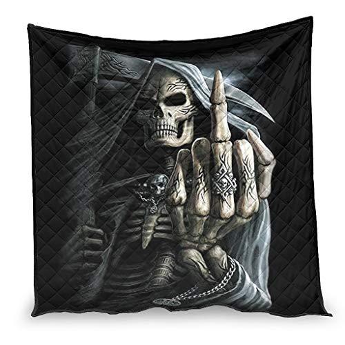 BBOOUAG Steppdecke für Klimaanlage, Punk-Stil, mit Totenkopf-Motiv, weich, nordischer Stil, für Bettwäsche, beste Geschenkidee für Freunde, weiß, 180 x 200 cm