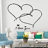 SLQUIET Romance personalizable Te amo pegatinas de pared decoración de dormitorio extraíble decoración de fiesta en casa papel tapiz de pegatinas de pared de hogar Amarillo L 43cm X 55cm