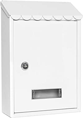 Mailboxes Wall Mount with Key Lock – Jssmst Small Mail Boxes Horizontal, 12.2 x 8.3 x 3.05 Inch, White New