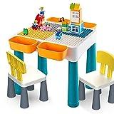 ChenYongPing Mesa de Bloques de construcción para niños, Puzzle Infantil Compatible Tamaño del Edificio Bloques montados Mesa de Estudio Storage Table Set Tabla 46.5x46.5x57cm