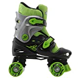 No Fear Kids Quad Skates Boys Skate Shoes Rollers Wheeled Black/Green UK 1-4