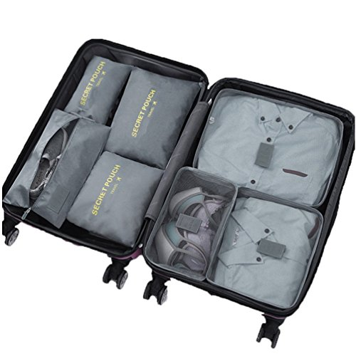 7 Set Sistema di Cubo di Viaggio - 3 Cubi di Imballaggio + 3 Sacchetti Borsa+ 1 Borsa portascarpe - Perfetto di Viaggio Dei Bagagli Organizzatore (2Grey)