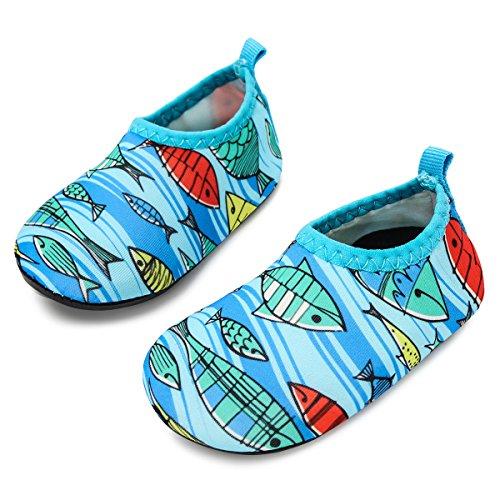 JIASUQI Baby und Kinder Athletic Sneakers Barfüßig Wasser Schuhe für Strand Schwimmen Schwimmbad, Fisch Hellblau 12-18 Monate