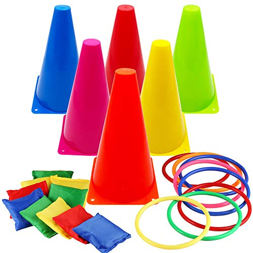 Hxezoc 3 in 1 Carnival Games Set, Soft Plastic Cones Cornhole Bean Bags Ring Toss Games for Carnival Kids Birthday Party Indoor Outdoor Games Supplies