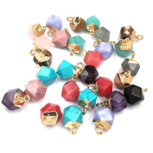 Natural Stone Pendants,Faceted Semi Precious Stone Charms Jade Turquoise Agate Crystal Quartz Beads for DIY Bracelet Necklace Jewelry Making Gift (Mix Style 10pcs)