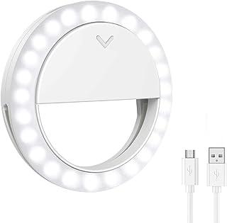 Selfie Ring Light, 40 LED Clip-on Phone Laptop Photography Video Lighting, 3 Lighting Modes, Adjustable Brightness Circle ...
