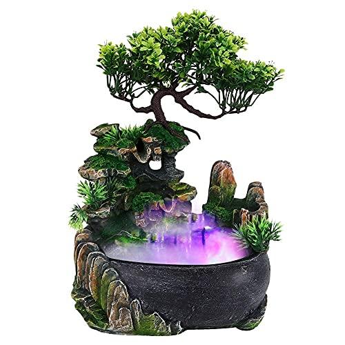 Zimmerspringbrunnen, Zimmerbrunnen mit Beleuchtung Tischbrunnen LED Balkon Brunnen Nebel Pflanzen mit Pflanzen Wasserfall Desktop Brunnen mit Farbwechsel Simulation Steingarten Luftbefeuchter Dekor