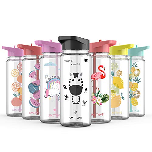 Smitave Water Bottle with Straw, 720ml Motivational Water Bottle with Time Markings, BPA-Free with Flip Nozzle and Leakproof - Ideal for School Kids Girls, Sports, Gift (Zebra)