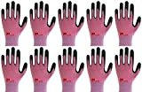 Lightweight Nitrile Work Gloves Supegrip200, 3D Comfort Stretch Fit, Durable Power Grip Foam Coated, Smart Touch, Thin Machine Washable, 10 Pairs Pack (Medium, Pink)