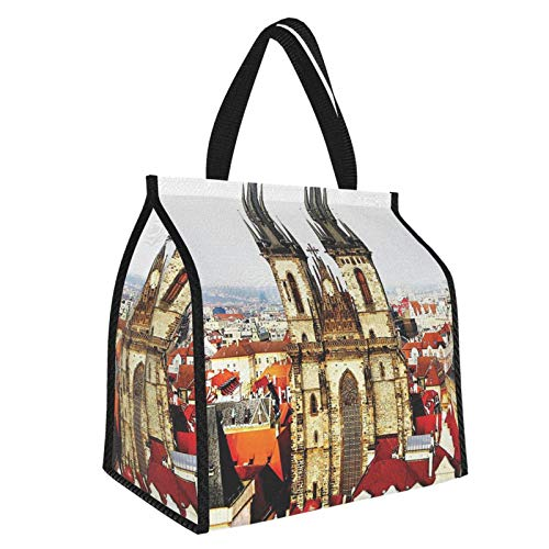 Y-shop Wanderlust Decor Collection Bird Eye Prague View And Tyn Church Castle Houses Autumn Old Town Square Picture Grey Ivory Burgundy Picnic Freezer Bag,Bag Picnic Camping Beach Tour BBQ 30l