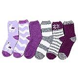 Fuzzy Socks for Women Fluffy Outdoor Socks Warm Fleece Socks Athletic Ankle Socks for Girls 6 Pack Purple