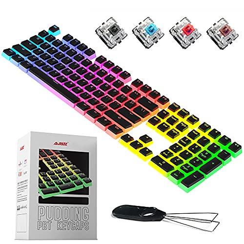 Pudding Keycaps - Full Key Set - 104 Key PBT Translucent keycap Backlit,...