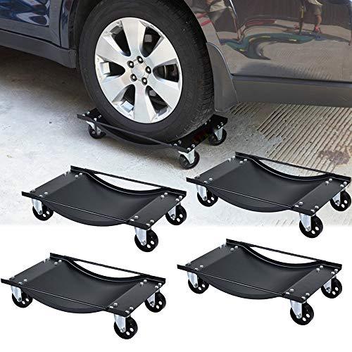Froadp Rangierhilfe Auto Prüfschlittens für PKW Auto Rangierhilfen Rangierwagenheber Kapazität max. 1800KG (4 Stück)