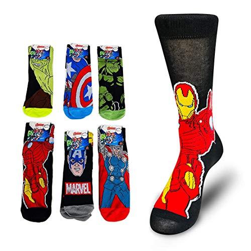 3 Paare Marvel Avengers Comics Herren Socken Schwarz Schwarz 39-45