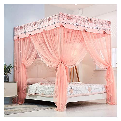 JHGF Dosel de cama con mosquitera Princess Four Corner con postes, elegante cortina de cama, baldaquino con postes para el dormitorio (tamaño: 120 x 200 cm)