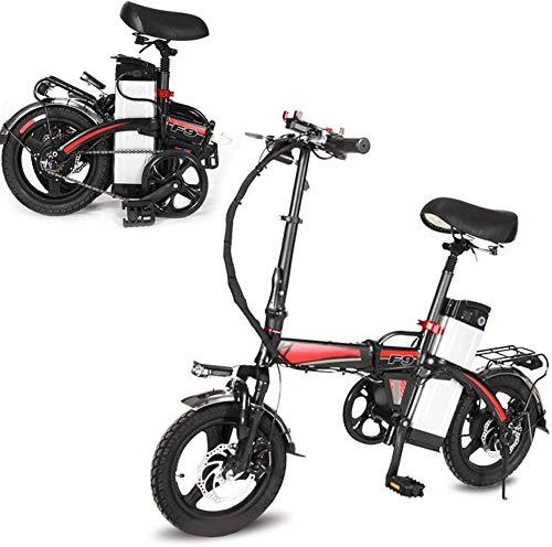 Bicicleta eléctrica Ligera Bicicleta plegable, pedales y PowerAssist bicicleta eléctrica, neumáticos de 14 pulgadas bicicleta eléctrica con motor 360W 14AH batería extraíble de litio, E-bici for adult