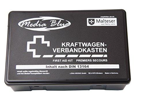 Mediablue Kfz-Verbandkasten Standard, Inhalt DIN 13164, schwarz