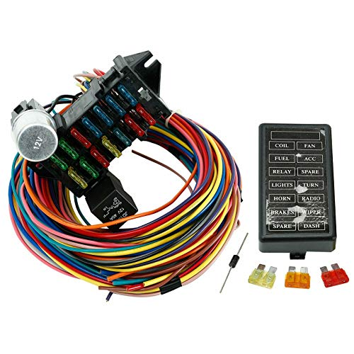 VOWAGH 14 Fuse 12-14 Circuit Wiring Harness Racing GXL Copper Wire Street Rods Hot Rods Race Cars Universal