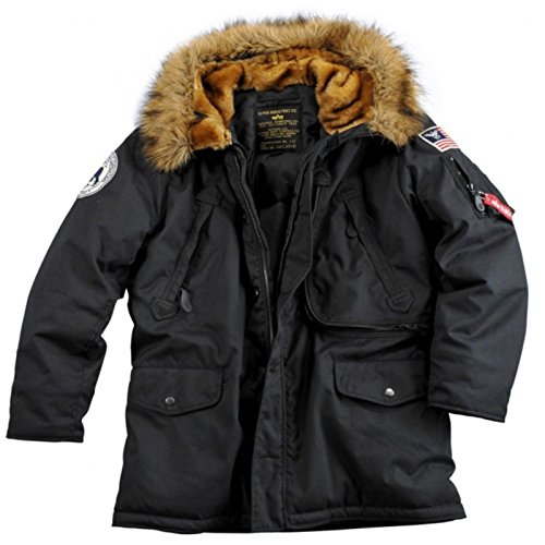 ALPHA INDUSTRIES Polar Jacket ist eine Nylon Winterjacke mit Kapuze und synthetischem abnehmbarem Fellrand, Innenärmeln mit Bündchen und L-Dokumententasche Parka, Größe:M, Farbe:Black