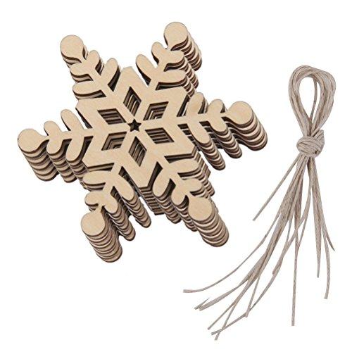 Rosenice - 10x decorazioni per albero di natale, decoro a forma di fiocco di neve in legno, 8 x 8 cm forma esagonale