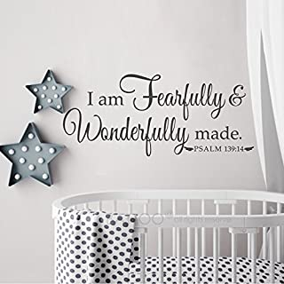 """BATTOO I Am Fearfully and Wonderfully Made Psalm 139:14 Nursery or Child's Room Vinyl Wall Decal 22"""" w Bible Verse Wall St..."""