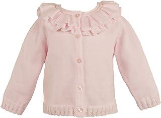 Petit Ami Baby Girls' Pointelle Ruffle Collar Cardigan