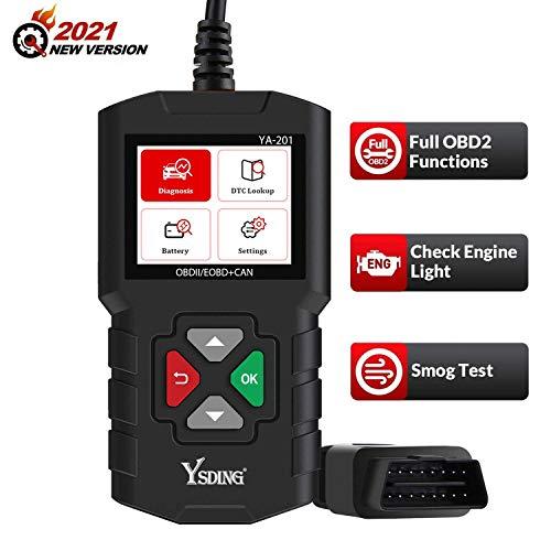Ysding YA-201 OBD2 Diagnosegerät Universal Auto Diagnosegerät Deutsch-Fehlercode-Auslesegerät für 16-Pin Alle OBDII Protokoll,Batterie Test