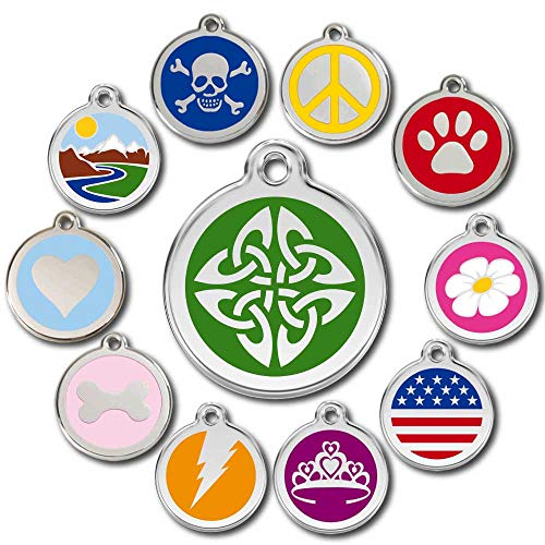 Love Your Pets Deluxe Pet ID Tags - Deep Engraved Stainless Steel - Engraving Will Last – 120 Design Choices of Pet Tags, Dog Tags, Cat Tags Most Ship Next Day (Green, Celtic Tribal)