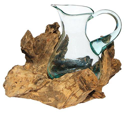 Geschenk Deko Gamal Wurzelholz 1,5 L Kanne Glas Vase Wurzel Holz Teakholz Krug L