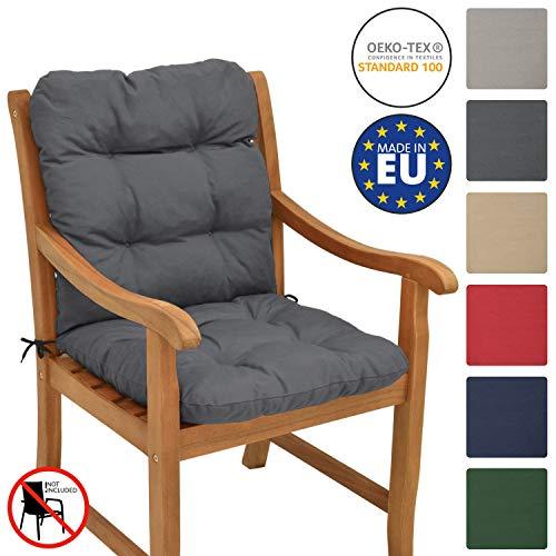 Beautissu Cuscino per sedie da Giardino Flair NL100x50x8cm - Comoda e soffice Imbottitura - Morbido Cuscino per Interni ed Esterni - Ideale Anche per spiaggine - Grigio