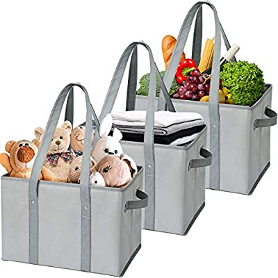 WiseLife Storage Baskets Reusable Grocery Bags Shopping Bags [3 Pack],Durable Foldable Collapsible Large Storage Bins Tote Bags Cube Box for Groceries, Clothes,Toys,Shoes and Picnic