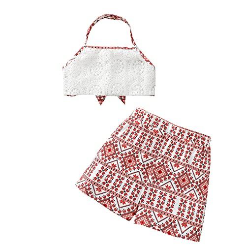 Mercatoo Trajes infantis para meninas bordados, colete sem laço, shorts estilo boêmio, roupa de verão de 18 meses a 6 anos