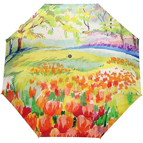 Frühlings-Ölgemälde-Blumenblumen-Baum-Auto-Öffnen-Schließen-Sonnen-Regen-Regenschirm