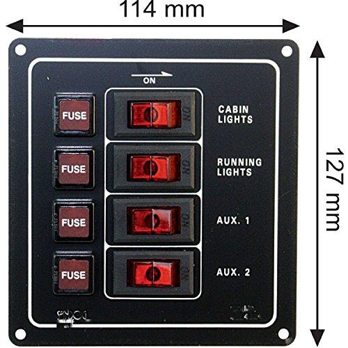 Sicherungspaneel für Boote mit Beleuchtung - 4 fach