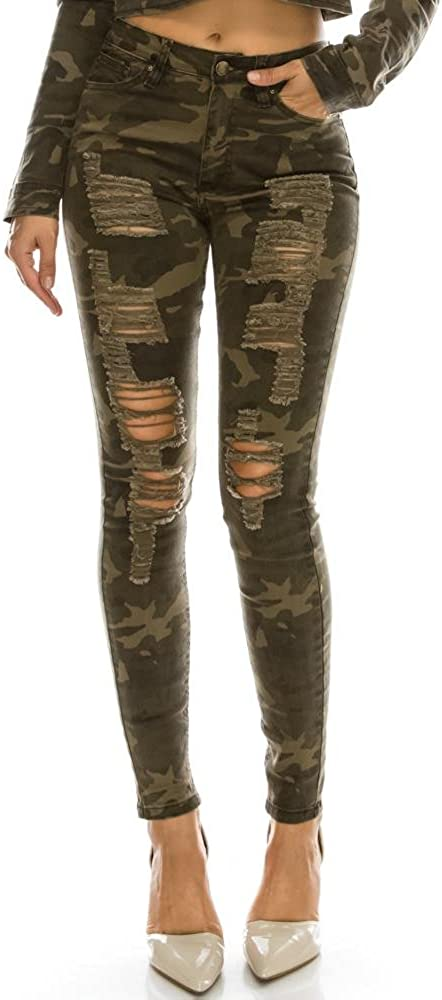 TwiinSisters Women's Outlet sale feature High Rise Stretch Destroyed Sk Ripped Superlatite Color