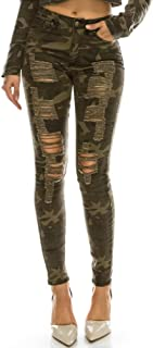 Women's High Rise Stretch Destroyed Ripped Color Skinny Pants Jeans Multi Styles