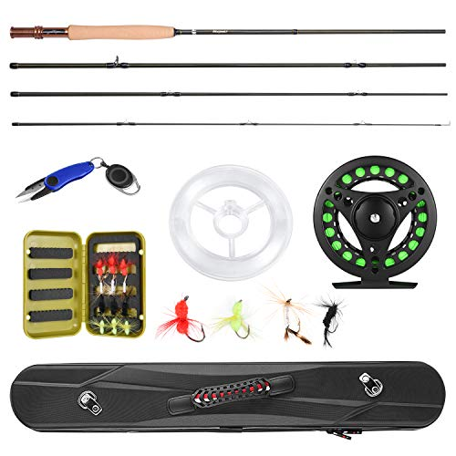 Magreel Fly Fishing Pole, Fly Rod and Reel Combo with Portable Lightweight 4 Piece Fly Fishing Rod 9ft, Aluminum Fly Reel, 12Pcs Fly Flies and Fishing Line Scissors with a Travel Case