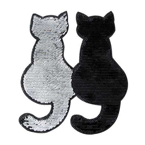 EXCEART 2 Piezas de Parches de Hierro con Lentejuelas Parches Bordados con Forma de Gato Apliques Diy Decoración Artesanal Coser Parches para Ropa Jeans (Negro)