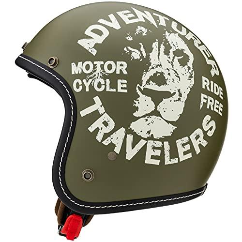 マルシン(MARUSHIN) バイクヘルメット ジェット MCJ3 レオ オープンジェット ナチュラル オリーブ XLサイズ (61-62cm) 3005636