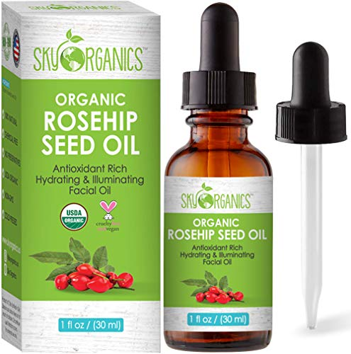 Organic Rosehip Oil by Sky Organics (30 ml) 100% Pure Cold-Pressed Rosehip Seed Oil for Dry Skin Antioxidant Face Oil Source of Vitamin C USDA Organic Rosehip Seed Oil for All Skin Types