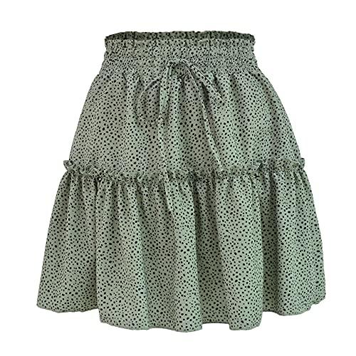Falda Corta De Cintura Alta De Verano para Mujer Falda con Estampado De Lunares Falda Plisada con Volantes