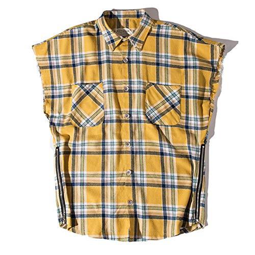 Camisas de Cuadros de Hip-Hop para Hombres, algodón Retro, cómodo diseño de Cremallera, Chaleco de Tendencia de Personalidad, Camisas de Manga Corta Large