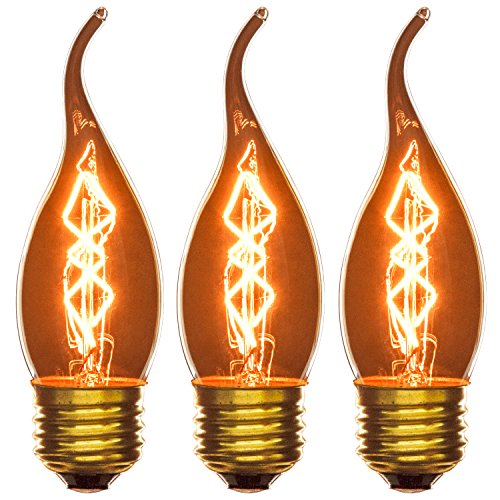 Sunlite 25EFC/AQ/S/SM/3PK 120-volt 25-watt Medium Base Incandescent Flame Tip Chandelier Lamp, 3-Pack