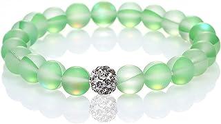 Round Mystic Mermaid Glass Beaded Stretch Bracelet 8mm Mystic Mermaid Glass Charm Bracelet Glowing Moonstone Friendship Be...